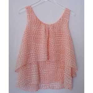FOREVER 21 PINK WHITE DOT LAYERED CAMISOLE TOP L